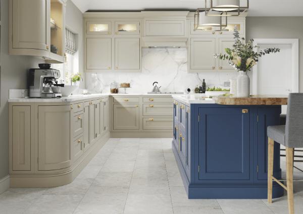 Belgravia Parisian Blue and Stone Kitchen