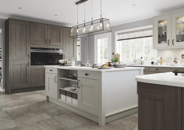 Clonmel Light Gret and Cardon Kitchen