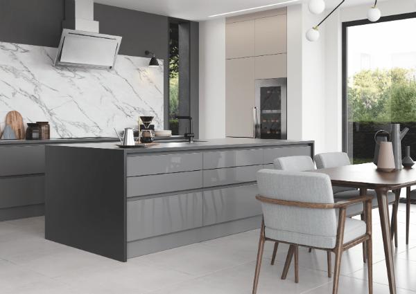 Zola Gloss Dust Grey and Tavola Anthracite Kitchen
