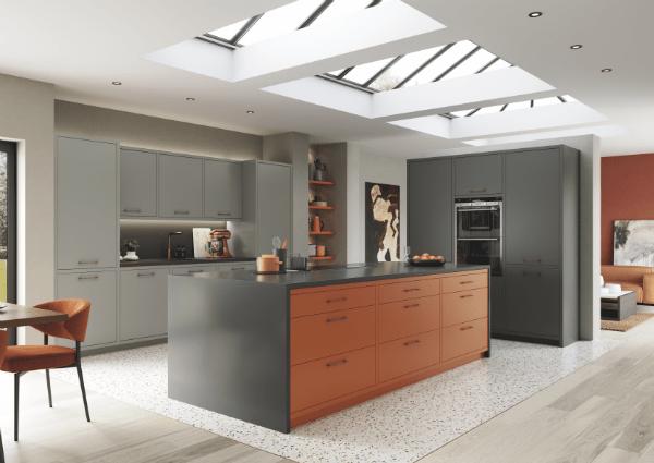 Zola Matte Orange Dyst Grey and Graphite Kitchen
